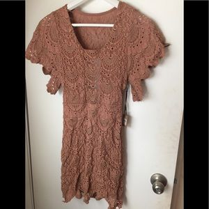 NWT Nightcap Spanish lace dress in blush xs